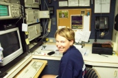 Brandi sits inside the fully-equipped van located on the deck of NOAA Ship RON BROWN.