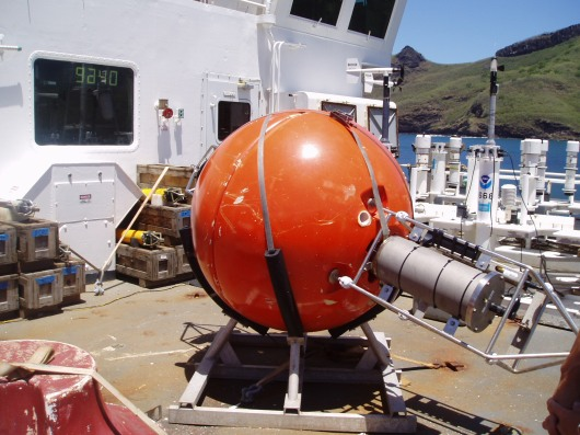 The ADCP (Acoustic Doppler Current Profiler) looks like a satellite when it is on board the ship....