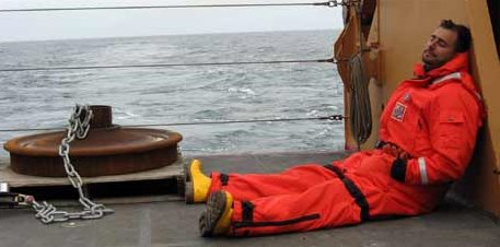 Those mooring men are working him to exhaustion! Thank goodness for the excellent food on board!