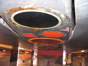Picture of the transducers in the centerboard, which is lowered when the ship is at sea. Lowering the transducer away from the hull reduces the noise interference of bubbles running along the hull while underway.