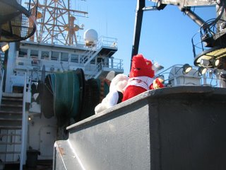 Snuggy and Zee paid a visit to the fantail of the ship.