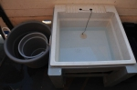 Sink with water and plug plus two buckets on the left
