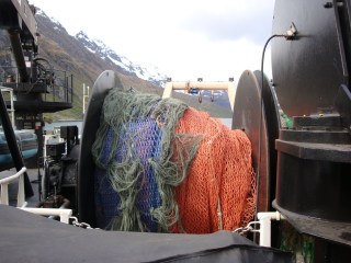 The bottom trawl all reeled in.
