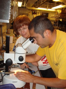 Diego searches for our catch under the microscope while Sue looks on