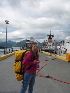 "Here I am on the docks getting ready to see my ""home away from home"" for the first time!"