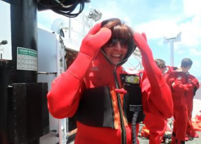"Heather Haberman in her ""Gumby Suit"" aboard NOAA Ship Oregon II"