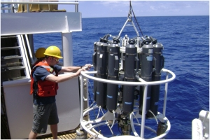 Chief Scientist guiding the CTD into the ocean