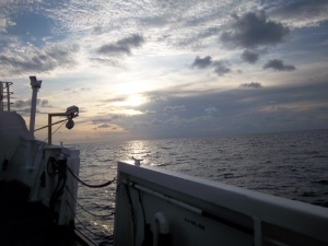 Starboard side at sunset