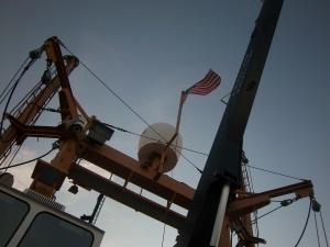 Old Glory flying high on NOAA Ship Oregon II
