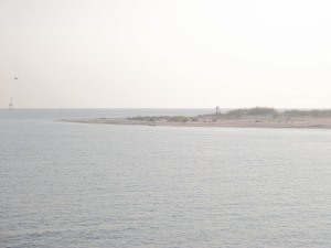 One of the Barrier Islands, Petit Bois Island, off the starboard side of the ship
