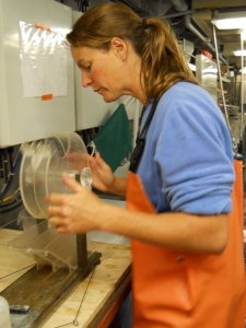 Jennifer divides a sample in the Folsom plankton splitter