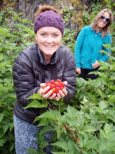Salmonberries.  Abigail and Cat.