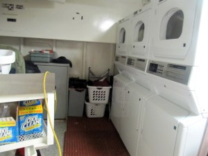 Wash your dirty clothes at the ship's laundry room.