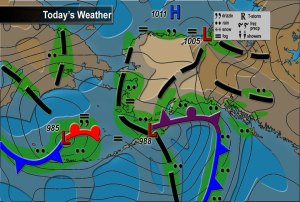 Today's weather after the two low pressure systems had entered the area. The weather was pretty crappy the last two days, but today it is beautiful.