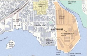 Hunts Point residential and food distribution port (notice the Bronx River and East River)