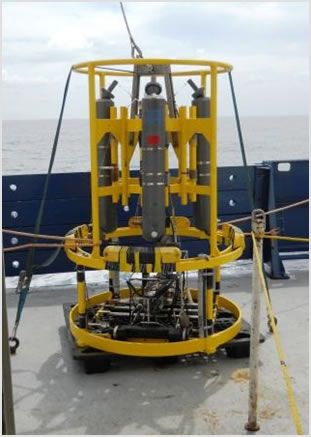 Revelle CTD with Niskin bottles attached for collecting water samples