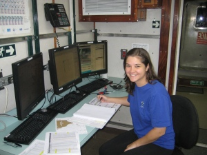 Liz at computer