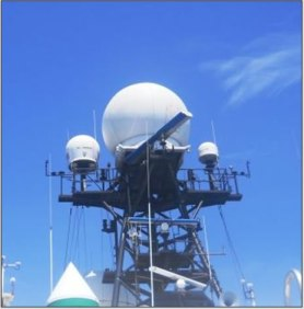 The large dome in the center houses the NASA Doppler C-Band radar antennae. Image credit: Jacquelyn Hams