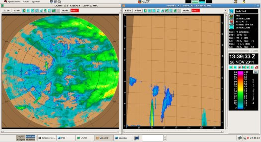 The TOGA Radar image on the left is a horizontal image looking down on the rain.  The ship is in the center. North is straight up toward the top of the image. The radar range is 150 km. The arrow indicates a single storm cell that is located 40 km from the ship. Towards the east (right side of the diagram) are large areas of light rain, indicated by white arrows.  Radar image on the right is a vertical cross section through the storm cell (indicated by the black arrow). The top of the storm extends up to 5 km and contains moderate rain indicated by the yellow color.