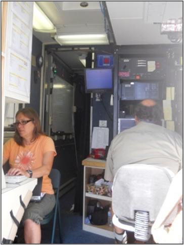 Photograph of Ann and Raul inside the LIDAR van.