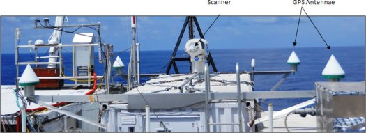 The four cone-shaped devices are differential GPS antennae used to correct for the motion of the boat.