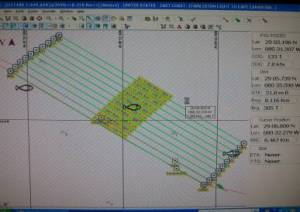 Transect lines used for mapping sea floor.