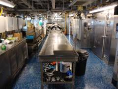 """Wet"" (fish) lab aboard Pisces, cleaned and ready for next research team"