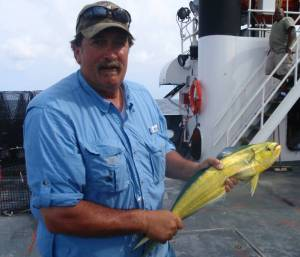 Crewman Kirk Perry with Mahi‐mahi