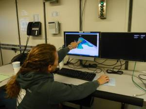 Investigator Jennifer Weaver showing GIS model of sea floor contours
