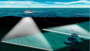 Multibeam sonar mapping the seafloor. Image courtesy of Jill Heinerth, Bermuda: Search for Deep Water Caves 2009.