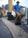 The back deck of the Sette where most trawling operations occur.