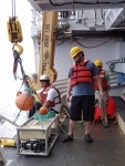 The Botcam is being deployed off the side of the Sette with the help of crew member Kelson and Johnathan.