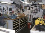 There are many tools in the engineers' room