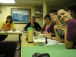 Members of the scientific team enjoy a night in the forward mess with popcorn and a movie aboard the NOAA ship Sette.