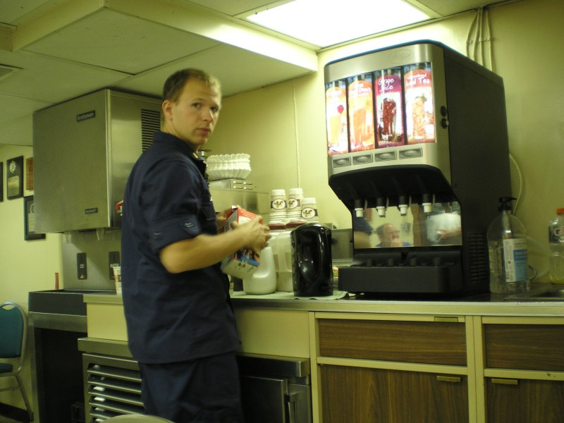 The galley is open24 hours a day for snacks and drinks. People work around the clock aboard the NOAA ship Sette.