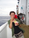 NOAA scientist, Louise Giuseffi enjoys Hawaiian shave ice on deck of NOAA ship Sette.