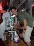NOAA scientist, Louise Giuseffi shows off Hawaiian shave ice machine aboard NOAA ship Sette.