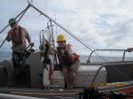 The SE small boat is being deployed with Mill Dunlap and Teacher at Sea, Jennifer Fry