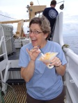 Teacher at Sea, Jennifer Fry enjoys Hawaiian shave ice aboard NOAA ship Oscar Elton Sette.