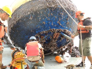 Stratus 11 and its detritus and barnacles
