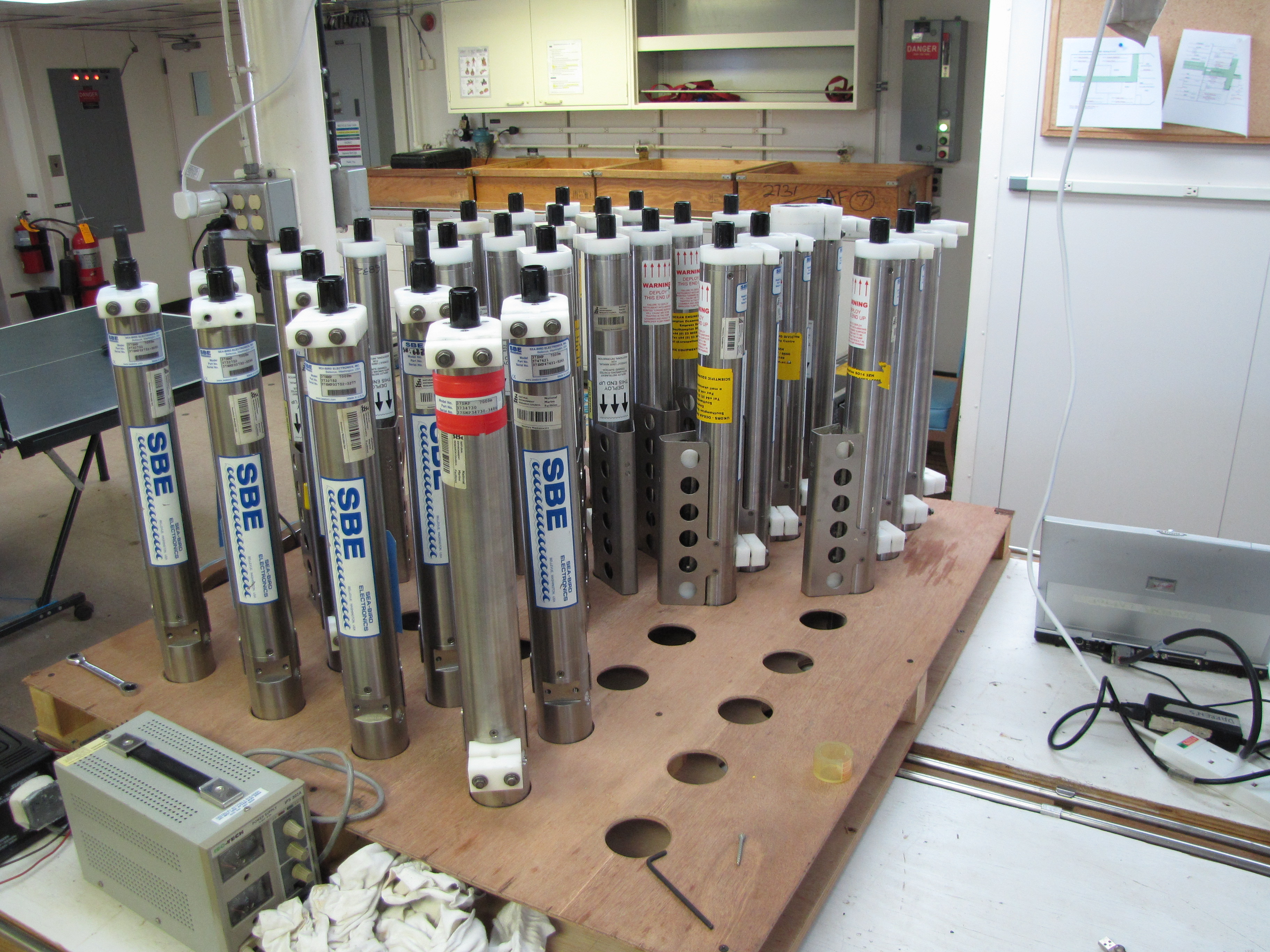 In the lab: Scores of sensors serviced and ready for deployment