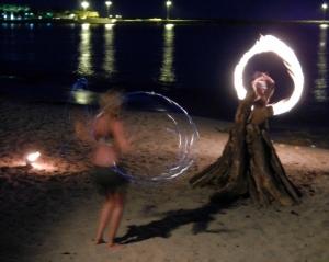 Modern fire dancers