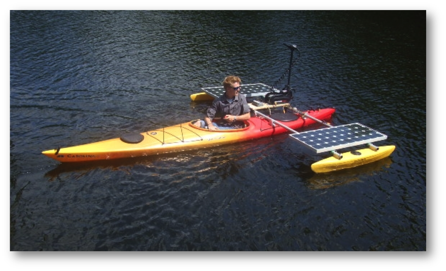 One of my students, Carson Byers, takes the solar kayak out for a test ...
