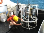 Rinsing out the CTD with freshwater