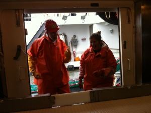 Dancing in the fish lab on the Oscar Dyson