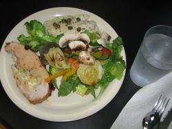 Black sea bass and stuff pork roast dinner