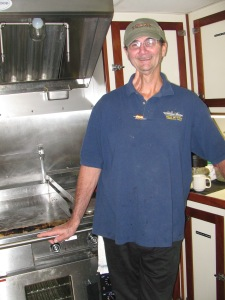 Marine chef, Mike Kruitwagen in the galley