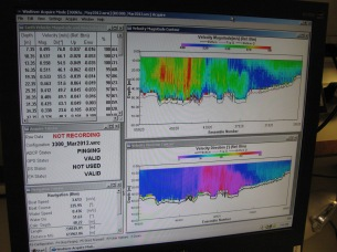 Monitor showing depth and current velocities in the water column
