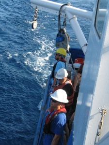 Scientists and crew waiting to arrive at a trap location