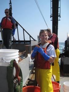 Alicia sorting fish